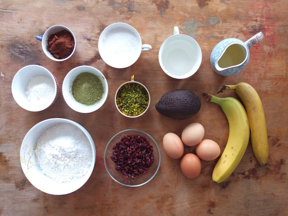Zutaten für Paleo Matcha Cranberry Gugelhupf - - La Crema Patisserie Foodblog Backblog