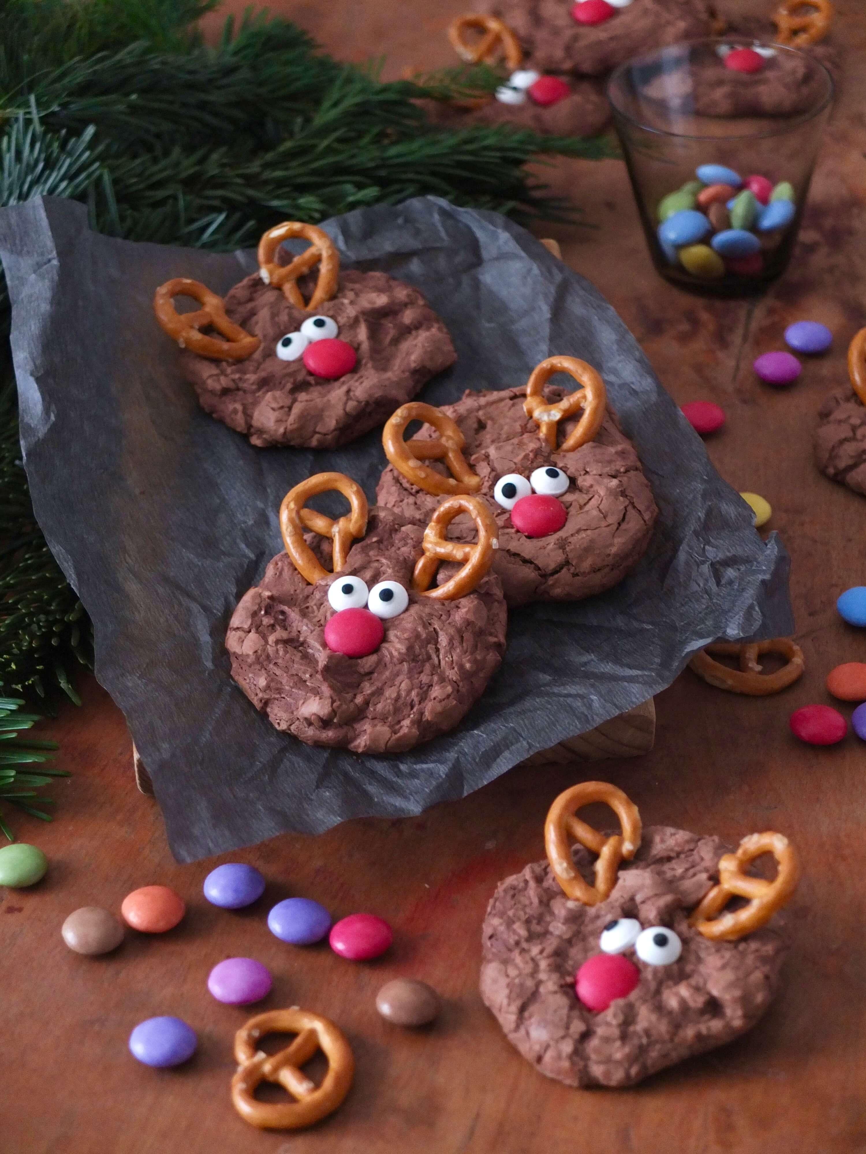 Schokoladige Rentier-Cookies | Rudolph auf dem Plätzchenteller | Rezept