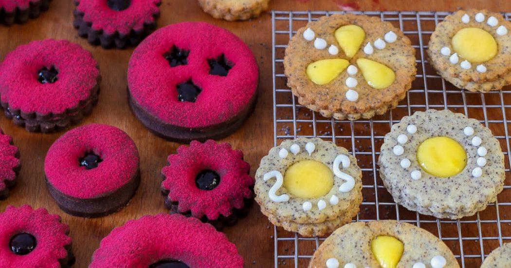 Schoko-Cassis- und Mohn- Zitronen-Spitzbuben   Der Plätzchen Klassiker mal anders   Rezept